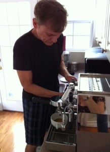 Mike makes coffee